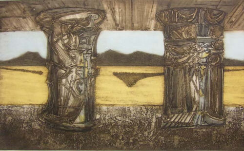 """Dean Meeker""""Meeting"""" H.Signed Intaglio Collagraph Artwork Make Offer"""