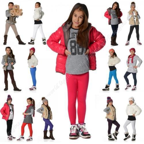 Plain Children Age 2-13 Cotton Full Length Leggings Girls Kids Black +20 Colours <br/> Brown Navy Grey White Red Yellow Green Blue Pink Coral