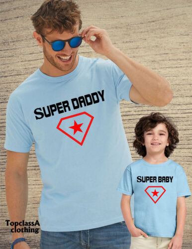 Super Daddy Super Baby Hero Star Slogan Father Son Daughter Dad Matching T shirt