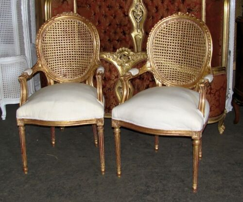 Pair of French Louis XVI Gilt Cane Caned Dining Arm Chairs<br/>Post-1950 - 156311