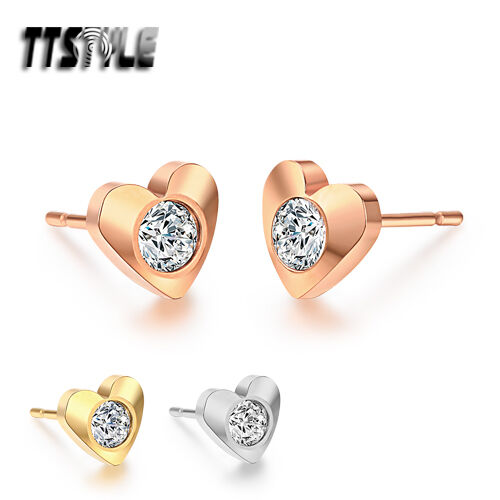 TTstyle Stainless Steel Heart Stud Earrings Clear CZ 3 Colours NEW