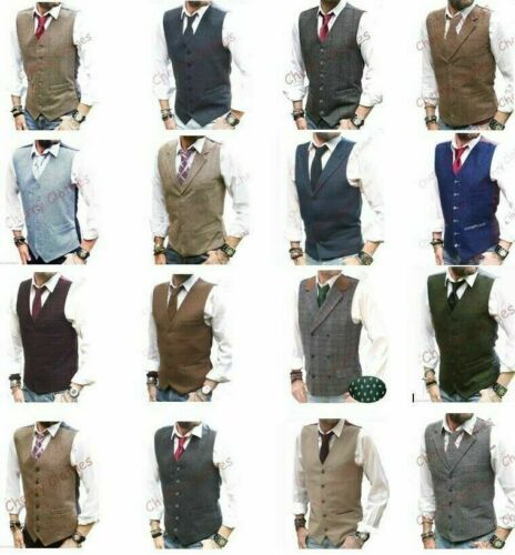 MENS WAISTCOAT WOOL BLEND TWEED WAISTCOAT VEST GILET - ALL SIZES <br/> Approved Stockist - A Grade Stock Only!!