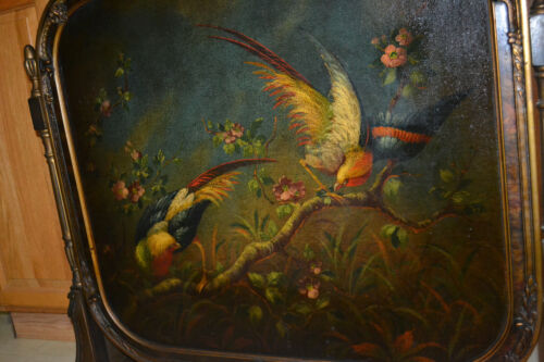 Antique Wood Hand painted Fireplace screen Fire Screen Summer cover Parrot<br/>Hearth Ware - 163013