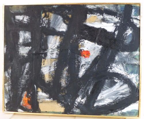 VINTAGE NONOBJECTIVE ABSTRACT EXPRESSIONIST PAINTING MID CENTURY MODERN Signed