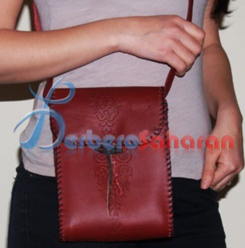 Young girls mono pocket leather handbag Handmade in Algeria - Red with patterns