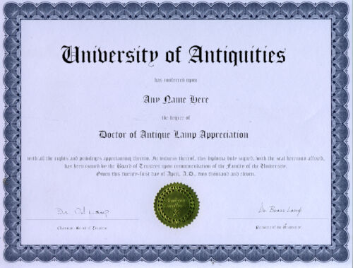 Doctor Antique Lamp Appreciation Novelty Diploma<br/>Lamps - 63547