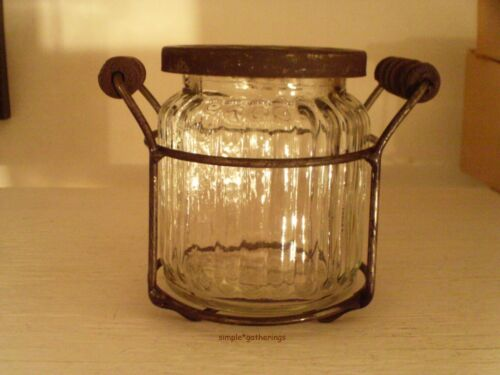French Country Flower Frog Jar w/ Wire Holder SMALL, Distressed Frog Lid Cottage<br/>Primitives - 1217