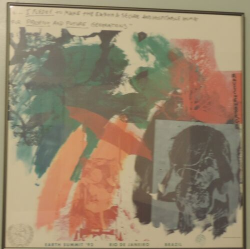 Robert Rauschenberg Limited Edition Earth Summit Litho in Frame, 1991