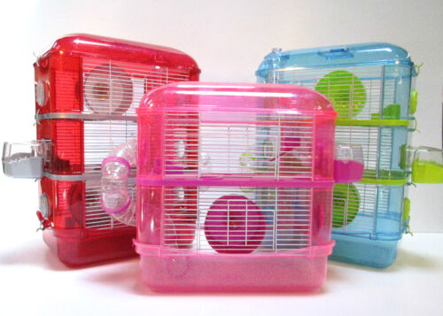Fantazia Large Glitter Dwarf Hamster Mouse Small Pet Cage 2 or 3 Storey Levels  <br/> FREE NEXT WORKING DAY DELIVERY IF ORDERED BEFORE 11 AM
