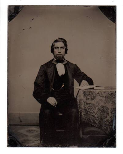 Great 1/4 Plate Tintype educated man goatee scholar open book Victorian fashion