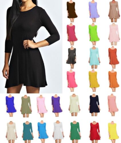 Womens Long Sleeve Scoop Neck Skater Dress UK 8-28 <br/> ✔1st Class Post ✔ Fast Delivery ✔Combined Shipping✔