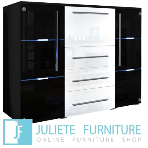 Glass door Chest of drawers Dresser WHITE / BLACK HIGH GLOSS LED FREE DELIVERY <br/> ✔COMMODE ✔DRESSER ✔3 DRAWERS ✔SIDEBOARD ✔GLASS FRONTS