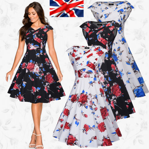 New Ladies Evening Party Swing 1950s 60s Vintage Floral Style Rockabilly Dress