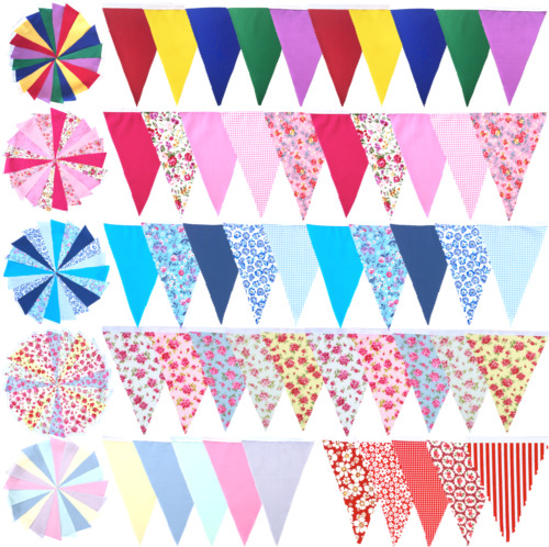 Fabric Bunting Wedding Birthday Party Christening Shabby Chic Handmade 10ft 20ft <br/> MORE COLOURS AVAILABLE- ANY LENGTH CAN BE MADE TO ORDER