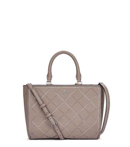 Tory Burch Bag Robinson Crosshatch Small Zip Tote French Gray Ivory Agsbeagle  <br/> Guaranteed Authentic Tory Burch Bags Fr the US!! SALE!!