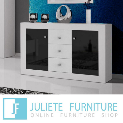Modern Sideboard_Chest of drawers / WHITE / BLACK HIGH GLOSS - Agnes 8___HQ !! <br/> CHEST OF DRAWERS✔ COMMODE✔ 3 DRAWERS✔ DRESSER✔ BEDROOM✔