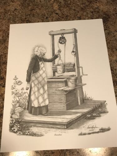 "Black & White Prints Of ""Grandma"" By Late Artist Lonnie Hughes. Read Descript"