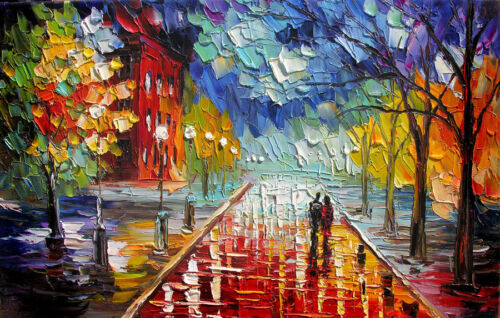"""Stretched""""Our Night"""" Painting Palette Knife Oil Painting ,Hand Painte on Canvas"""