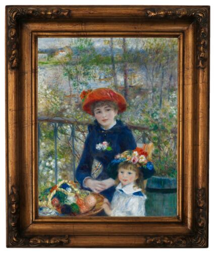 Renoir Two Sisters (On the Terrace) 1881 Wood Framed Canvas Print Repro 11x14