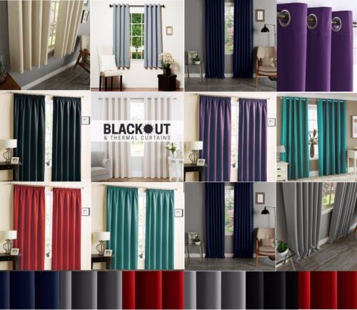 THERMAL BLACKOUT CURTAINS READY MADE EYELET RING TOP OR PENCIL PLEAT + TIE BACKS <br/> Thermal✔ Eliminate Droughts✔ Winter Warm✔ Reduce Noise✔