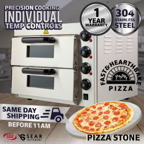 Sear Commercial Countertop Electric Pizza Deck Oven Double - Stone Base - 2.4kW <br/> SAME DAY SHIPPING before 11am | GST invoice avail