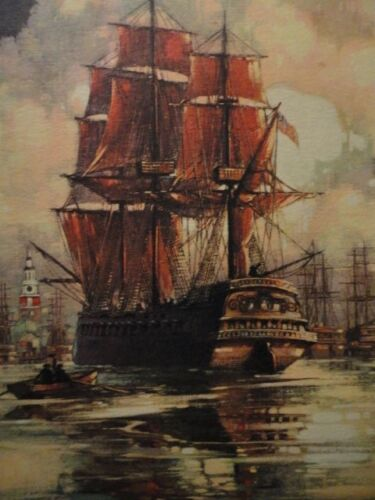 """Al Mettel """"The Alfred"""" First Flagship of America Navy Art Print to Frame Vintage"""