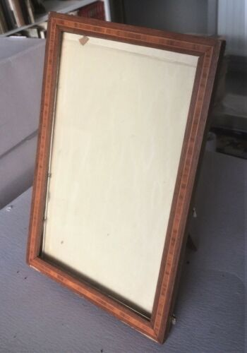 vintage 7 x 10 1/2 table wood marquetry frame cadre photo marqueterie bois 1910