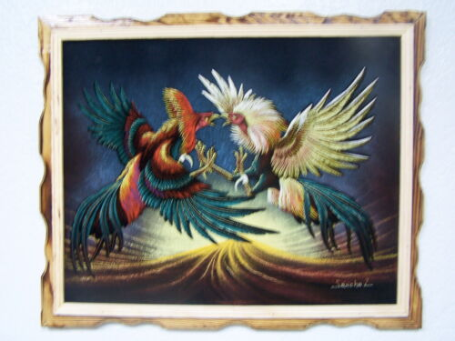 "COCK FIGHT,PELEA DE GALLOS VELVET PAINTING,VINTAGE,18"" BY 22""W, FRAME ART,GIRO"