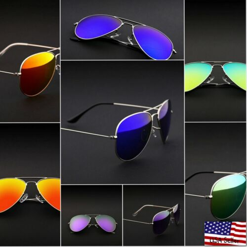 Retro Aviator Sunglasses Vintage Mirror Lens New Men Women Fashion Frame Glasses <br/> FAST SHIPPING FROM THE UNITED STATES NOT FROM CHINA