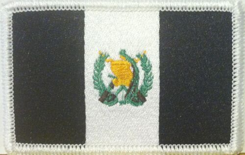 GUATEMALA Flag Military Patch With VELCRO® Brand Fastener B & W White Border #7
