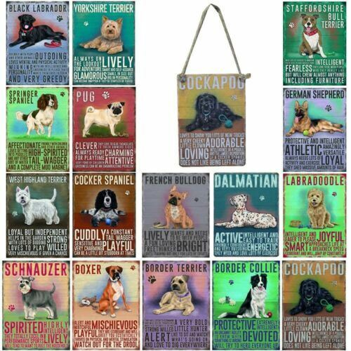 Vintage Style Metal Dog Sign Retro Hanging Plaque Breed Characteristics - 9cm <br/> Buy 4 Get 1 Free!! Many Breeds To Choose From!!