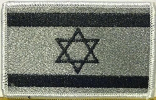 ISRAEL Flag Military Patch With VELCRO® Brand Fastener Gray & Black Version #20