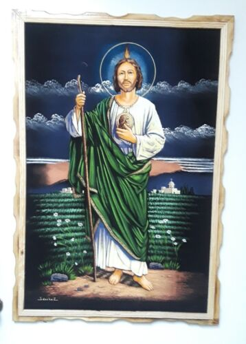 """LARGE  SAN JUDAS TADEO  PAINTING , VELVET , RELIGIOUS , 38.5"""" BY 26.5"""" .SIGNED"""