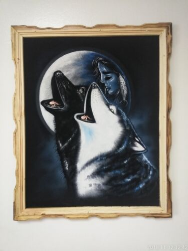"""HOWLING WOLF & MOON ,  Hand Painted, VELVET PAINTING , 18"""" BY 22"""" W , FRAME"""