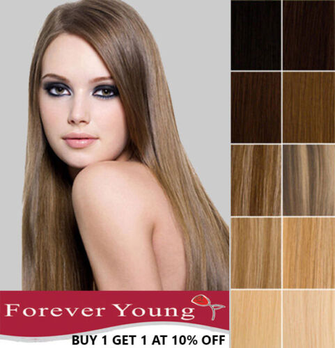 Clip In Human Hair Extensions 100% Real Remy Human Hair Weft Forever Young UK <br/> Premium Quality Hair, sold by Forever Young UK