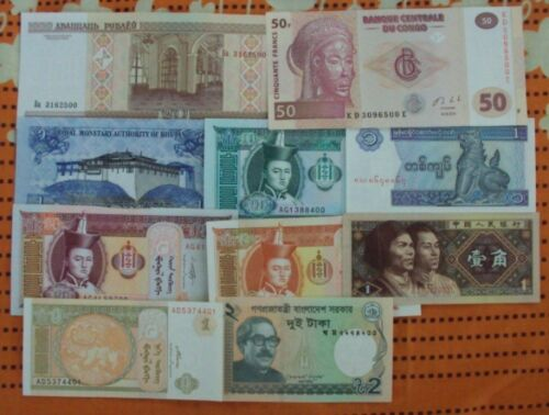 LOT OF 10 DIFFERENT UNC BANK NOTES LIMITED TIME OFFER ONLY # M10 <br/> PROVIDE CORRECT AND COMPLETE ADDRESS FOR SHIPMENT