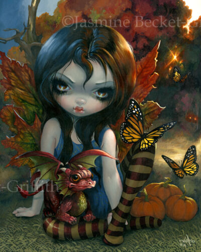 Jasmine Becket-Griffith art BIG print seasons fairy fall dragon SIGNED Autumn