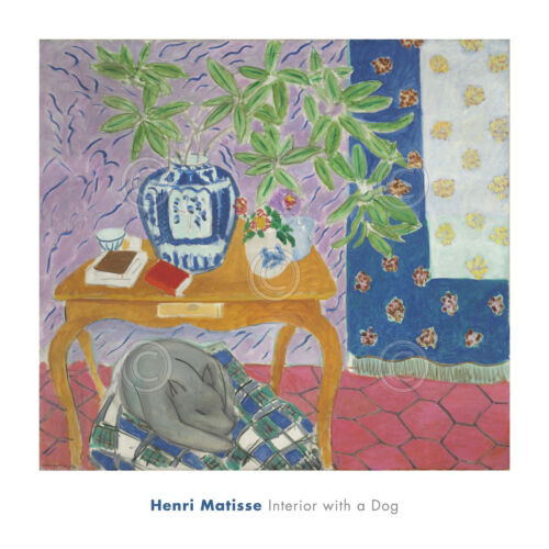 Interior with a Dog, 1934 by Henri Matisse Art Print Puppy Sleeping Poster 28x28