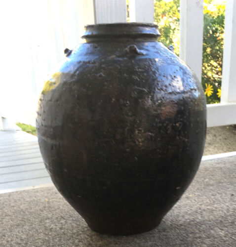 Antique Globular Chinese Brownware Stoneware Pottery Storage Jar Vase OFFER<br/>Vases - 37933