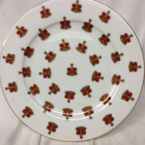 """EDWARDIAN COLLECTION ENGLAND RED & GOLD CROWNS SALAD PLATE 8 1/8"""" GOLD TRIM"""