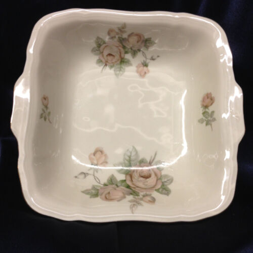 "HAVILAND JOHANN BAVARIA E428 SQUARE HANDLED BOWL 8 1/2"" TAN ROSES CHIPPENDALE"