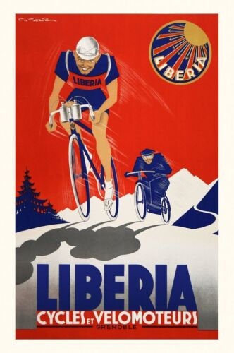 Liberia Cycles et Velomoteurs Art Print Vintage France Bicycle Poster 26x18
