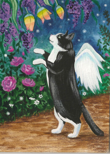 ACEO TUXEDO BLACK CAT PRINT OF PAINTING RAINBOW FLOWERS RYTA FAIRY ANGEL SPRING