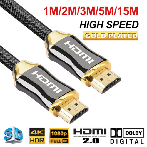 4K Ultra HD Premium HDMI Cable V2.0 3D High Speed 1m 2m 3m 5m 15m Gold Plated