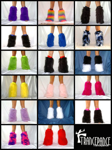 Halloween Fluffies Fluffy Furry Boots Covers Legwarmers Furries Go Go Neon Rave