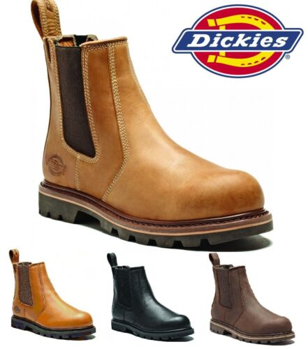 MENS DICKIES LEATHER DEALER STEEL TOE CAP SAFETY CHELSEA WORK BOOTS SHOES SIZE <br/> VAT RECEIPT - SAME DAY DISPATCH- UK SIZE 5 - 13 RRP &pound;79