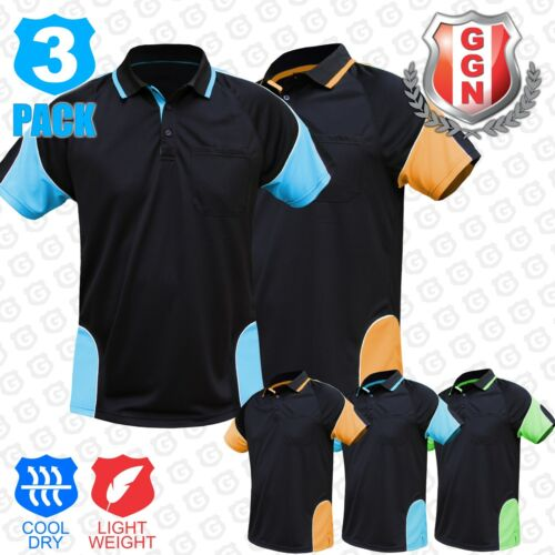 3x HI VIS POLO Shirts (HIVIS ARM PIPING PANEL)WORK WEAR COOL DRY SHORT SLEEVE