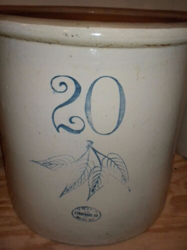 Vintage Red Wing 20 Gallon Crock 4 Leaves Union Stoneware Antique<br/>Crocks - 163003
