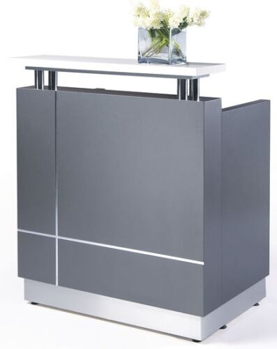 Reception Counter Reception Desk Salon Metallic Grey Office Furniture <br/> DELIVERY AND ASSEMBLY AVAILABLE SYD MELB BRIS PERTH