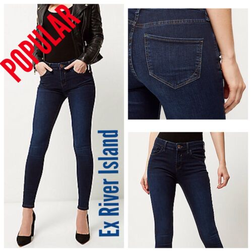 ex-River Island Dark Wash Blue Amelie Super Skinny Jeans RRP &pound;40.00 <br/> Over 60% Off RRP!!!